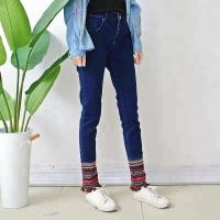 Quality Embroidered Tassel Blue Women Denim Skinny Jeans Long Section Casual Style wholesale