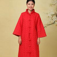 Quality Red 100% Cotton Long Chinese Coat , Traditional Chinese Winter Jacket wholesale