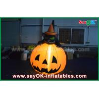 China Durable Halloween Inflatable Holiday Decorations Pumpkin Cat With Led Lighting on sale