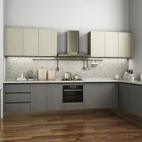 Buy cheap L Shaped Melamine Kitchen Cabinets With Stainless Steel Appliances European Style product