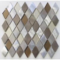 Quality Diamond Shaped Backsplash Mosaic Glass Tile Sheets , Mosaic Glass Wall Tiles For Kitchen wholesale