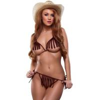 Quality Bareback Rider Cowgirl Lingerie Party Adult Costumes Bra and G-string Brown wholesale
