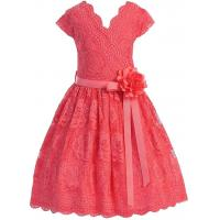 Quality Coral V Neck Cap Sleeves Little Girls Holiday Dresses , Kids Birthday Frocks Rose Lace Flower Belt wholesale