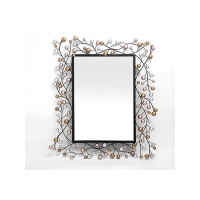 China Large Size Floral Rectangle Wrought Iron Mirror Wall Decor For Home Decoration on sale