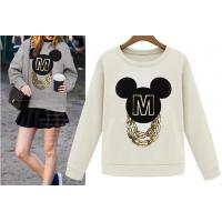 Quality Spring Cartoon Mickey Printing Pullover O-neck Loose And Long Sleeve Shirt wholesale