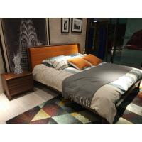 Cheap 2017 New design of  Leather Upholstered headboard Bed by Walnut wood frame for Young Apartment  bedroom furniture use for sale