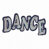 Cheap Dance Embroidered Sequin with Iron-on Backing, Suitable for Garments, Toys and Footwear for sale