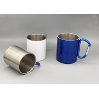 Quality Double Walled Insulated Silver 250ml Camping Cups wholesale