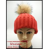 Quality Women`s knitted hat wit big raccoon fur ball/knitted beanie hat for girls wholesale
