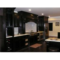 Quality European Dark Black Solid Wood Kitchen Cabinets With White Marble Countertops wholesale