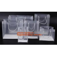 plastic clear heat seal square bottom pp bag with plastic handle,gift bag transparent shopping handle bag bagease pac