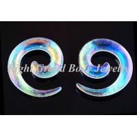 China Clear Spiral Ear Tapers With AB Coating For Men / Women 8MM on sale