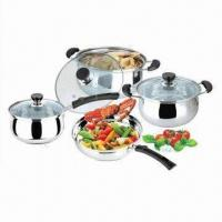 Quality 7 Pieces Cookware Set with 0.3 to 0.4mm Body Thicknesses, Made of Stainless Steel wholesale