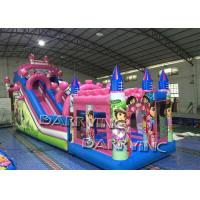 Quality Pink Dora Cartoon Commercial Inflatable Slide With Bouncy Castle / Bouncy Slide wholesale