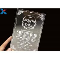 Quality Laser Cut Acrylic Wedding Invitation Cards / Mirror Clear Invitation Card wholesale