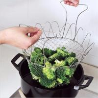 China Chef metal basket strainer, Foldable Kitchen Fry chef basket, Cooking net wire mesh basket on sale