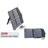 China Folding 14w 12V Solar Panel Waterproof Solar Usb Charger With 5m Cable on sale
