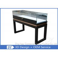 Quality Black Custom Glass Display Cases Plinth For Jewelry / Watch With LED Lighting wholesale