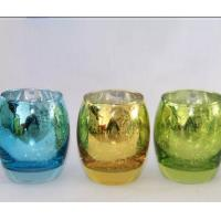 China Egg Shape Glass Candle Cups Colored Blue Machine Pressed Custom Size For Wine on sale