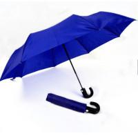 Mens Compact Umbrella Push Button Open Close Royal Blue 21 Inches Plastic Tips