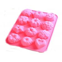 China Flexible Flower Silicone Baking Molds With 12 Cavitiese For Bussiness promotion gift on sale