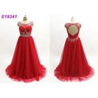 Quality Red Illusion Maxi Sexy One Piece Scoop Neckline Custom Made Prom Ball Gowns wholesale
