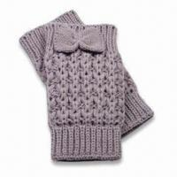 Quality Fingerless Gloves with Bow, Made of Acrylic, Customized Designs and Colors are Accepted wholesale