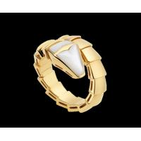 China Bvlgari Serpenti 18 kt yellow gold ring with mother of pearl Ref. AN855765 on sale