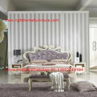 Quality Flowers Headboard Wooden Bed in Neoclassical fabric design for luxury multiple star B& B Room Furniture wholesale