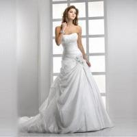 Cheap A-line Organza White Wedding Dress for sale