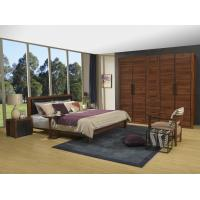 Quality 2016 New Nordic Design Cow leather Headboard bed in Walnut wood Furniture and MDF panel Wardrobe in Wall cabinet wholesale