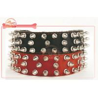 China Free Adjustable Genuine Cowhide Spike Leather Dog Collars And Leashes w 3.5cm on sale