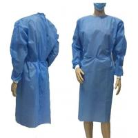 Quality Blue Disposable Non Woven Gown , Medical Isolation Gowns Tear Resistant wholesale