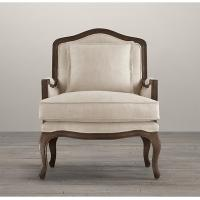 Classical French Antique Wooden Fabric Living Room Chairs , living room armchair styles