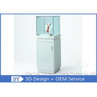 Quality Shinning White Custom Glass Display Cases With Lighting 450 X 450 X 1250MM wholesale