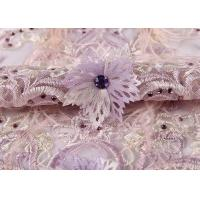 Quality Wedding Beige Purple Pink Colorful Mesh Lace Fabric Ostrich Feather Sequin 3d wholesale