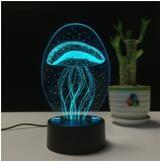 China China Supplier 3D Illusion Cartoon Jellyfish Multicolor LED Bedside Night Light Lamp with touchable Swith on sale