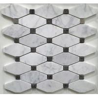 Quality White And Grey Slate Stone Mosaic Tile Diamond Carrera Venato Marble Black Dots Polished wholesale