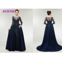 Quality Long Sleeves Mother Of The Bride Formal Gowns Detached Tail Dark Blue Beading Banquet wholesale