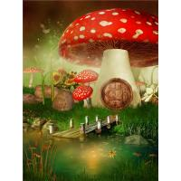 Quality Crystal Surface Decorative Wall Panel Sheets Red Mushrooms Pattern Anti Water wholesale