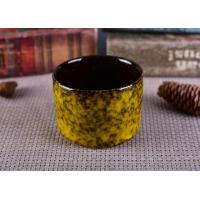 Quality Transmutation Handmade Ceramic Candle Holders Yellow Round Black Inside wholesale