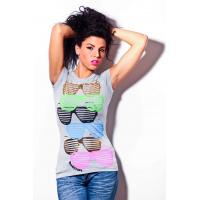 Buy cheap Womens short sleeves tshirt round neck glasses printing front from wholesalers