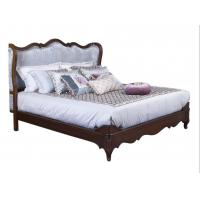 Cheap American Western design style Villa Bedroom furniture Fabric Headboard Screen Wood Bed with Leather Bench and  Armchair for sale