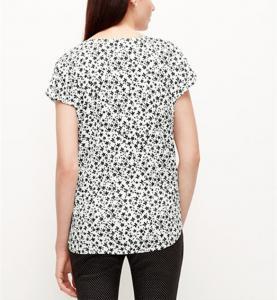 Quality 100% Polyeste short sleeves V neckcap sleeves chiffon blouse China dress factory wholesale