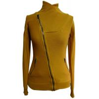 Quality Yellow High Collar Cotton Womens Knit Sweaters Short Jacket For Autumn wholesale