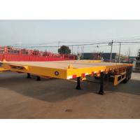 Quality Yellow Flatbed 3 Axles Container Semi Trailer Truck Carrying Heavy Equipment wholesale