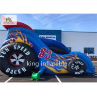 China Car Style Inflatable Bounce Dry Slide For Amusement Park Playground on sale