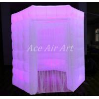 Buy cheap white oxford octagon inflatable photobooth with 1 door enclosure with led lights from wholesalers