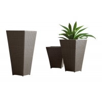Quality Anti Rust Aluminum Frame Rattan Tall Outsite Flower Pots wholesale
