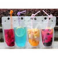 Quality Lemonade / Cold Drinking Resealable Zip Lock Clear Stand Up Pouch With Straw wholesale